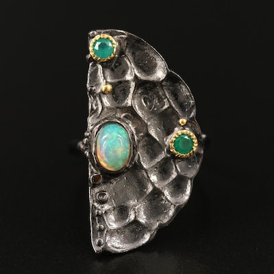 Sterling Silver Opal and Quartz Half Moon Ring