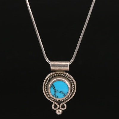 Sterling Silver Turquoise Slide Pendant Necklace