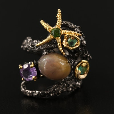Sterling Silver Opal, Amethyst and Diopside Aquatic Motif Ring