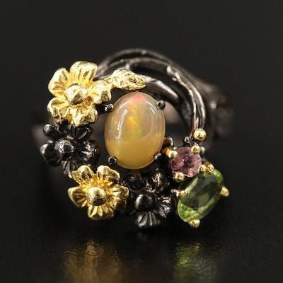Sterling Silver Opal, Peridot, Tourmaline Nest Motif Ring