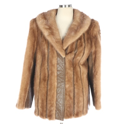 Mink and Light Brown Leather Coat with Shawl Collar, Vintage