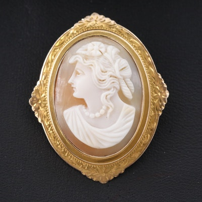 Antique 10K Helmet Shell Cameo Converter Brooch