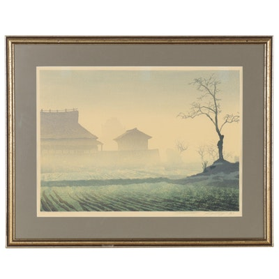 "Daniel Kelly Woodblock Print ""Morning Calm"", 1983"