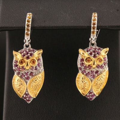 Sterling Silver Garnet and Sapphire Owl Earrings