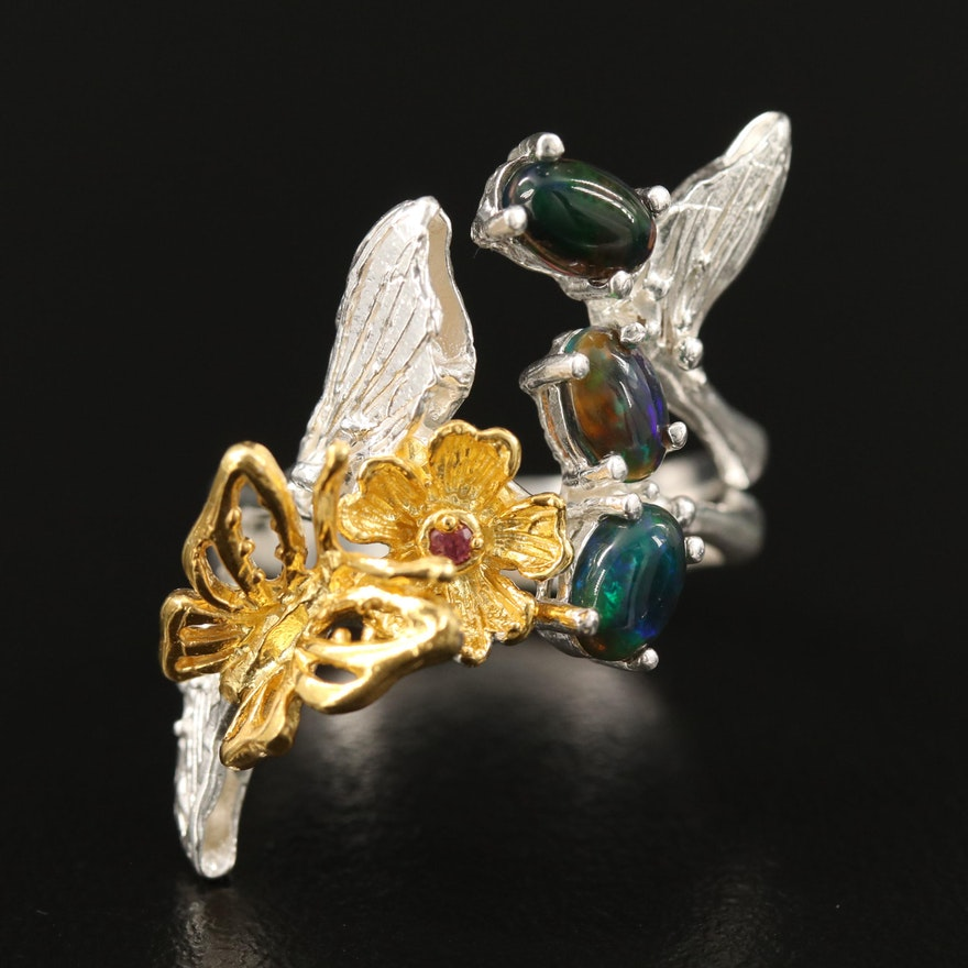 Sterling Silver Butterfly Ring with Opal and Garnet