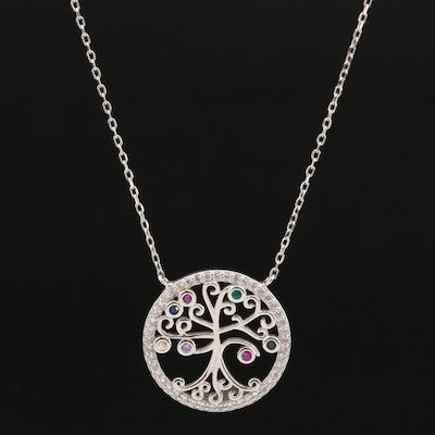 Sterling Tree of Life Pendant Necklace Featuring Spinel, Ruby and Cubic Zirconia