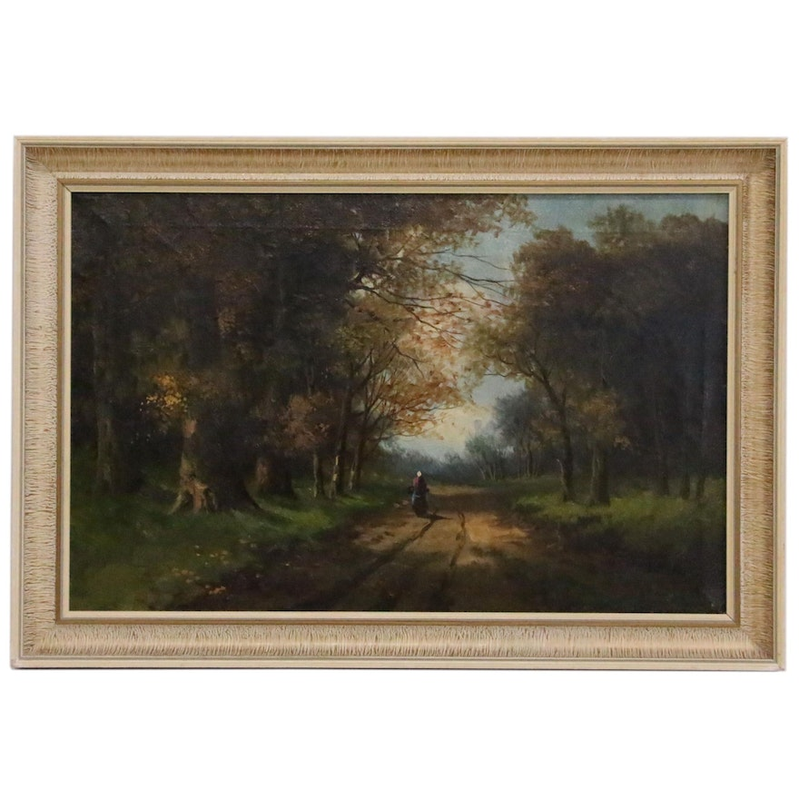 Oil Painting of Forest Interior with Figure, 20th Century