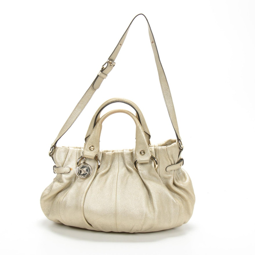 Celine Metallic Leather Pleated Satchel Handbag