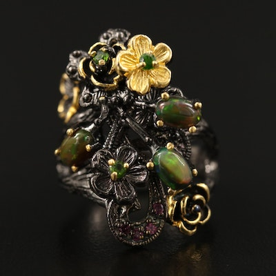 Sterling Silver Opal and Diopside Ring with Floral Accents