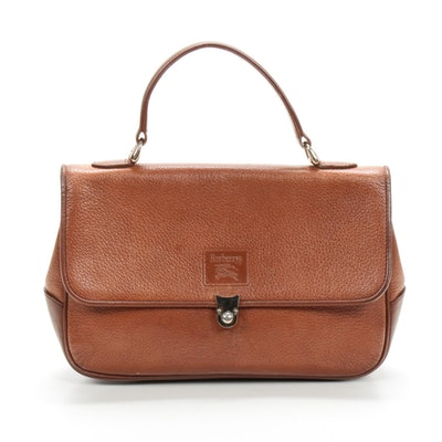 "Burberrys Brown Pebbled Handbag with ""Haymarket Check"" Lining"