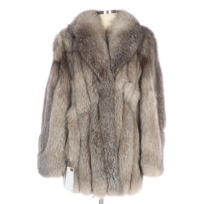 Indigo Fox Fur Jacket with Shawl Collar