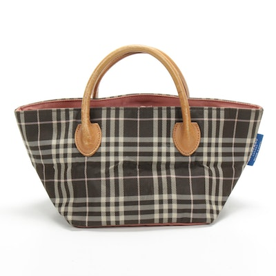 Burberry Blue Label Brown and Beige Plaid Canvas Tote with Leather Handles