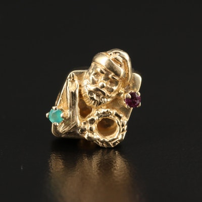 14K Ruby and Chalcedony Santa Claus Slide Charm