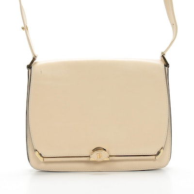 Bally Off-White Leather Shoulder Bag, Vintage