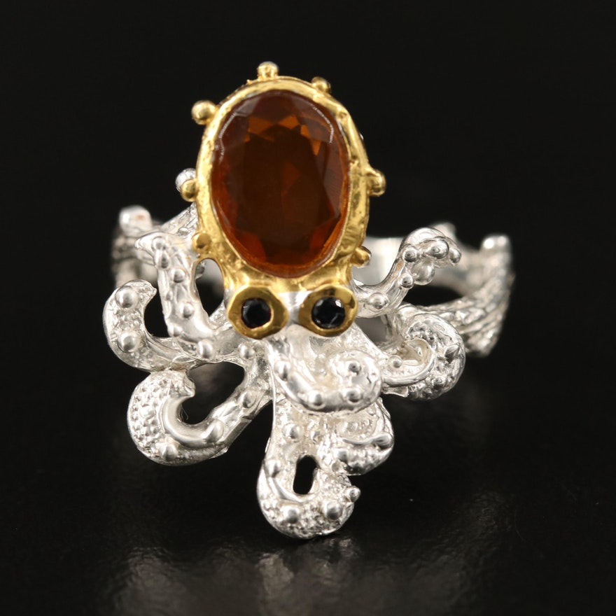 Sterling Opal and Sapphire Octopus Motif Ring