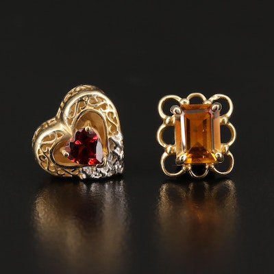 Robert Klein 14K Citrine and Heart Garnet Slide Charms