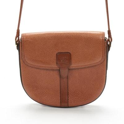 Burberrys Brown Pebbled Leather Crossbody Bag, Vintage