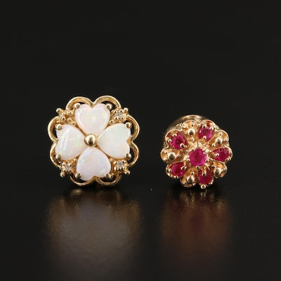 Robert Klein 14K Slide Charms with Opals, Diamonds and Rubies