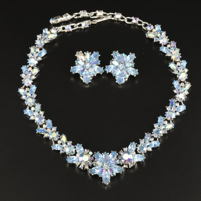 Vintage Rhinestone Floral Necklace and Earrings