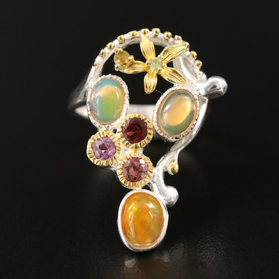 Sterling Silver Opal, Garnet and Peridot Ring with Floral Accents