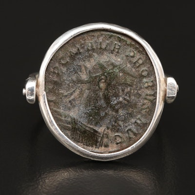 950 Silver Ring with Circa 276 A.D. Antoninianus Coin of Probus