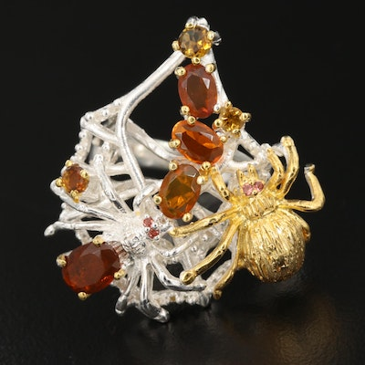 Sterling Silver Garnet, Opal, and Tourmaline Spider Ring