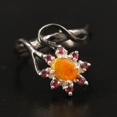 Sterling Silver Opal and Garnet Ring with Organic Design