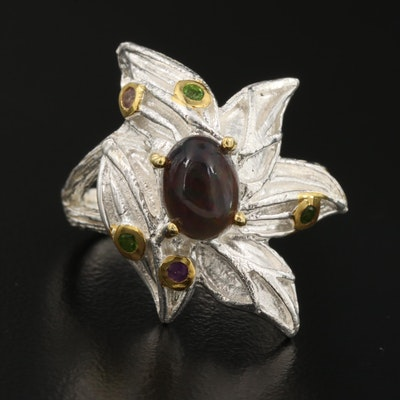 Sterling Silver Diopside, Amethyst, and Opal Foliate Ring