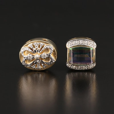 Robert Klein 14K Slide Charms Featuring Diamond and Mystic Topaz