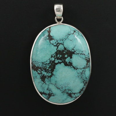Sterling Silver Turquoise Oval Pendant