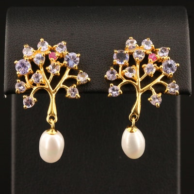 Sterling Silver Pearl Drop Tree Motif Earrings with Tanzanite and Ruby