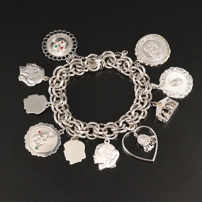 Sterling Silver Charm Bracelet Including Mother of Pearl and Pearl