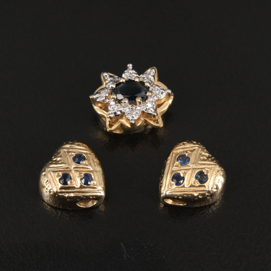 14K Sapphire and Diamond Heart and Star Motif Charms Featuring Robert Klein