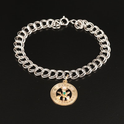 14K Anniversary Charm on Sterling Double Curb Chain Bracelet