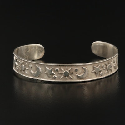 Mexican Sterling Celestial Motif Cuff