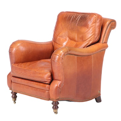 Whittemore-Sherrill Brown Leather and Brass-Tacked Club Chair