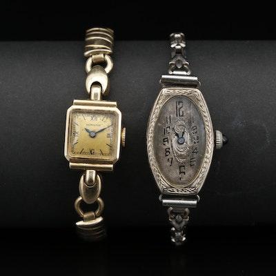 Pair of Vintage 14K Gold Stem Wind Wristwatches Featuring Hamilton