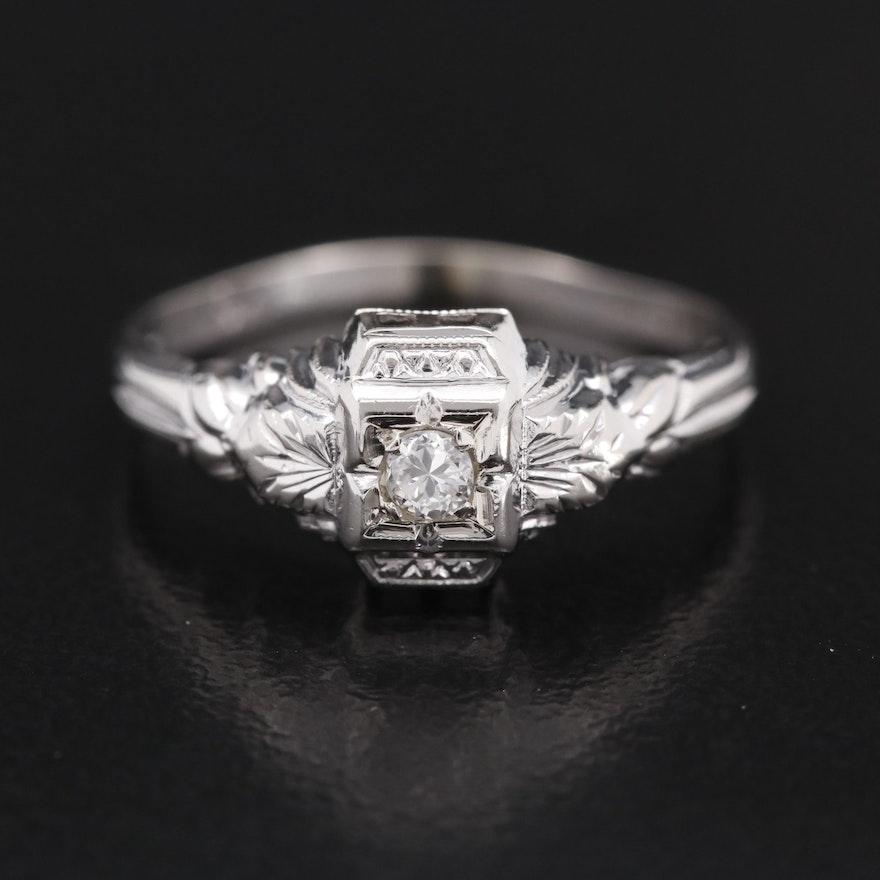 Art Deco Style 18K Diamond Ring