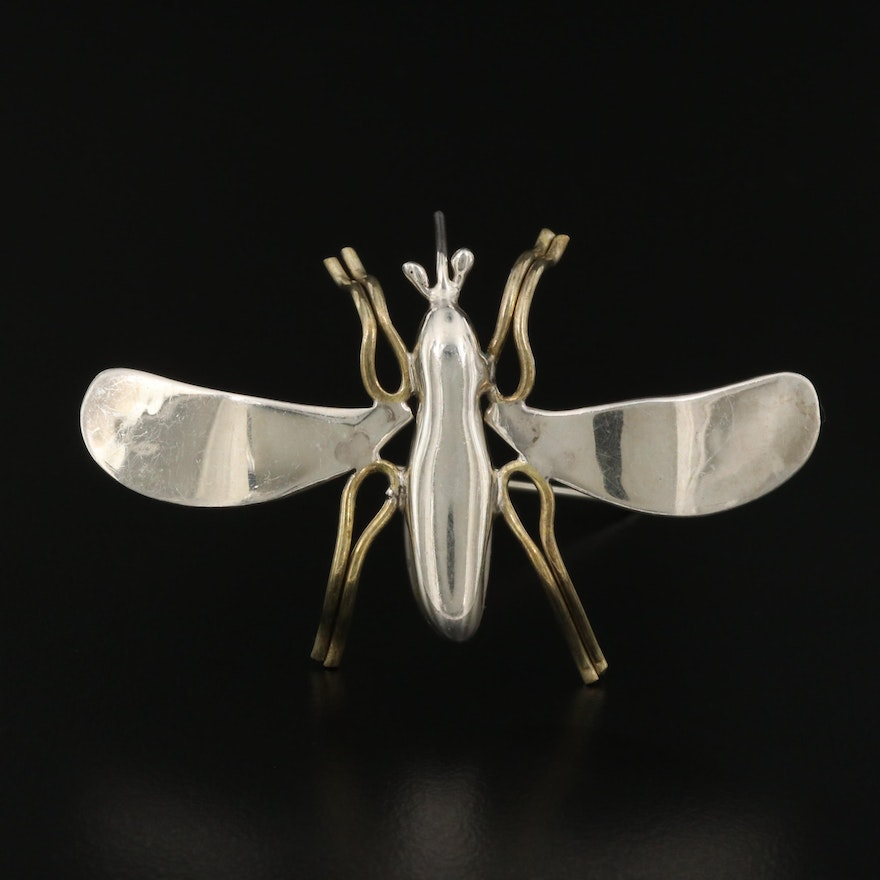 Mexican Sterling Silver Insect Brooch