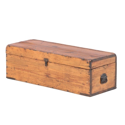 American Primitive Pine Tool Chest with Handsaw, Late 19th/Early 20th Century
