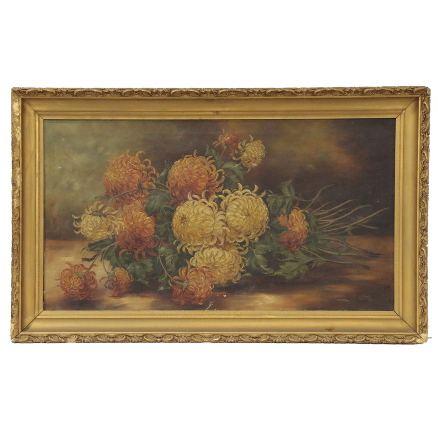 Celeste Bruff Floral Still Life Oil Painting, Late 19th to Early 20th Century