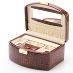 Champ Collection Brown Crocodile Embossed Faux Leather Jewelry Travel Case
