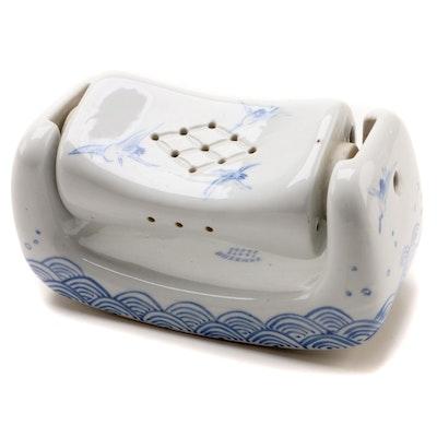 Japanese Porcelain Takamakura Headrest with Rotating Neck Support