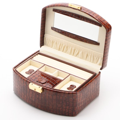 Champ Collection Brown Crocodile Embossed Leather Jewelry Travel Case