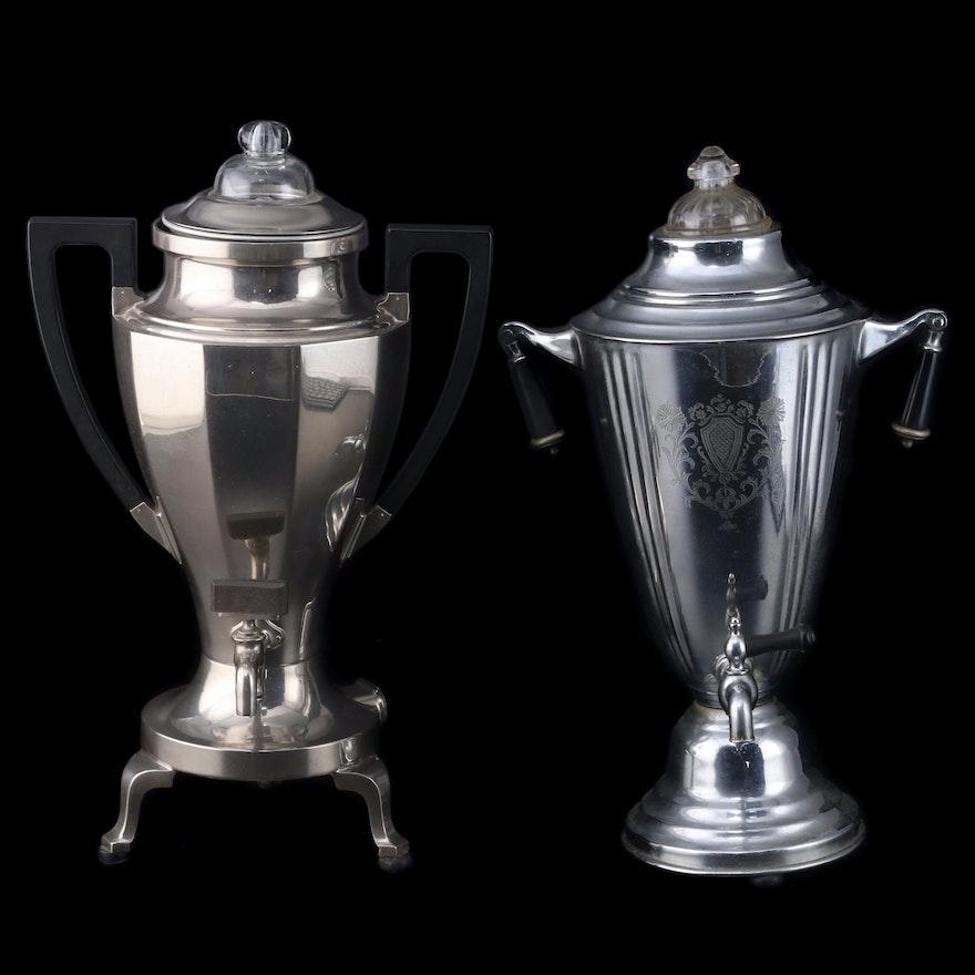 Landers, Frary & Clark and Lehman Bros. Silver Plate Coffee Percolators