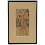 """Utagawa Toyokuni Woodblock """"Man in Tan and Black Holds Bamboo Poll"""", Endo Period"""