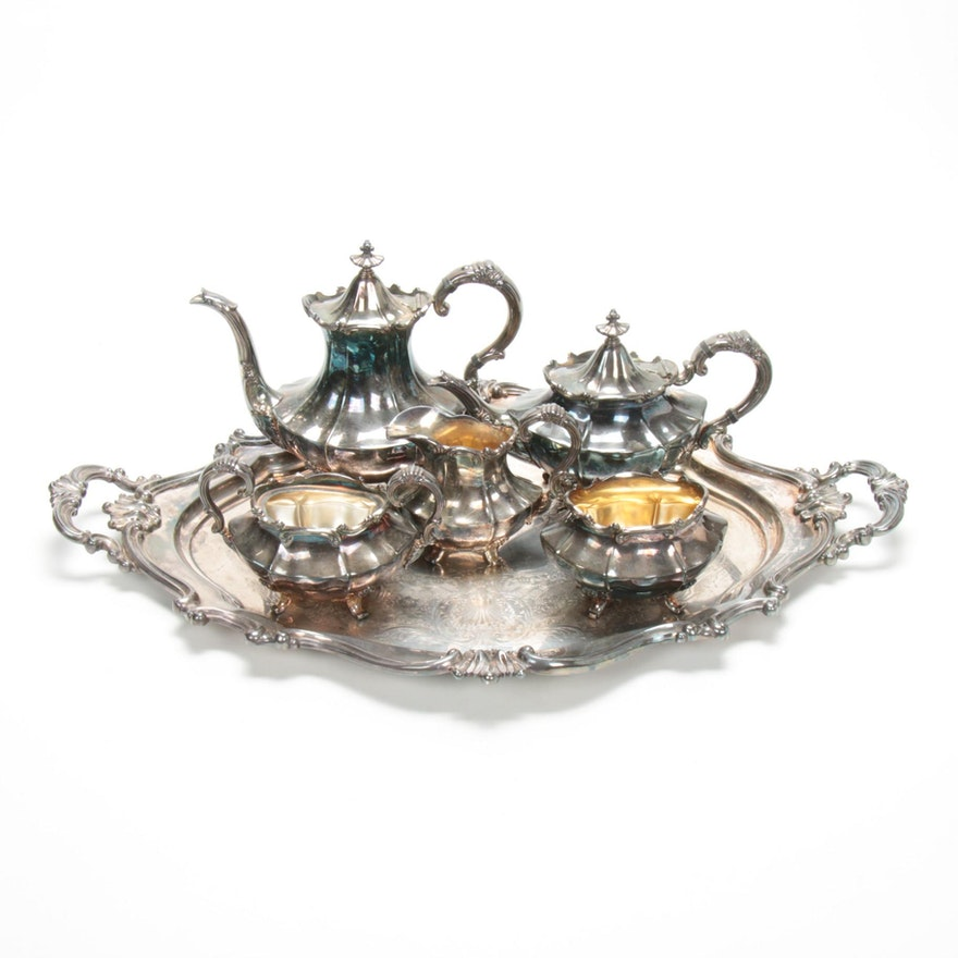 "Reed & Barton ""Victorian"" Silver Plate Tea and Coffee Service with Tray, 1956"
