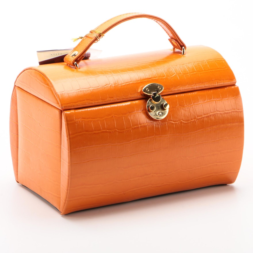 Rowallan Orange Crocodile Embossed Faux Leather Jewelry Travel Case