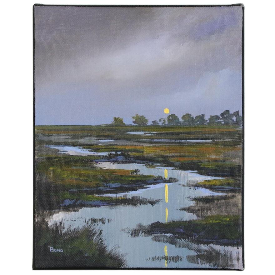 "Douglas ""Bumo"" Johnpeer Landscape Oil Painting ""Moon Rise"", 2020"
