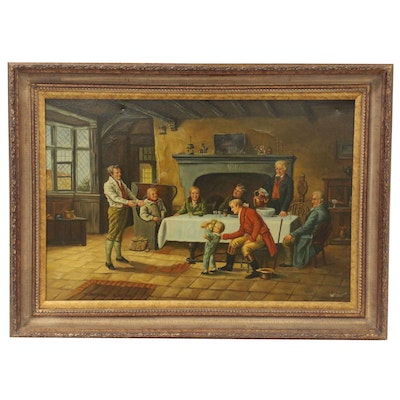 Interior Genre Scene Oil Painting, Late 20th Century